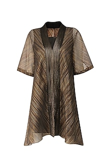 Black And Gold Organza Stripe Kaftan Style Top