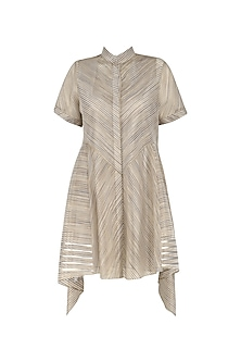 Grey And Gold Organza Stripe Kaftan Style Top