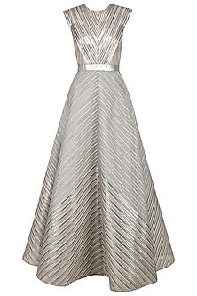 Grey Organza Stripe Fit And Flared Gown