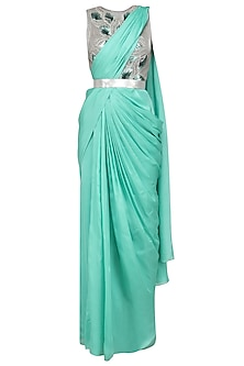 Mint Saree With Grey Leaf Embroidered Blouse