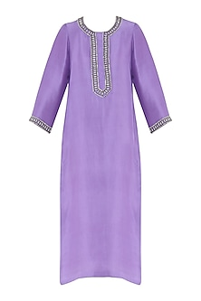 Lavender embroidered kurta with dupatta