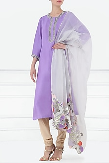 Lavender embroidered kurta with dupatta by Aisha Rao