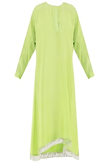 Lime green embroidered kurta with dupatta