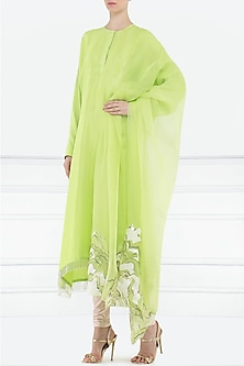 Lime green embroidered kurta with dupatta by Aisha Rao