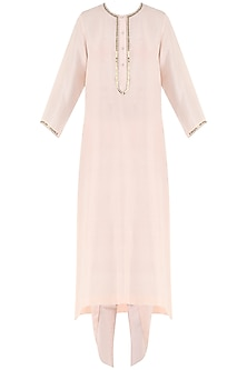 Dahlia pink embroidered kurta with scarf