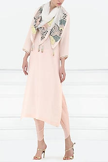 Dahlia pink embroidered kurta with scarf by Aisha Rao