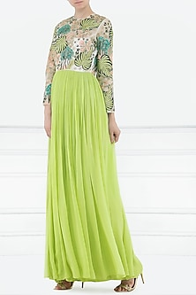 Lime Green Embroidered Gown by Aisha Rao