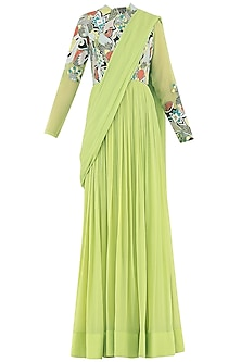 Lime Green Embroidered Anarkali Gown