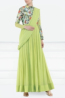 Lime Green Embroidered Anarkali Gown by Aisha Rao