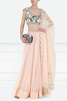 Ivory and Dahlia Pink Embroidered Lehenga Set by Aisha Rao
