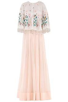 Ivory Embroidered Cape with Dahlia Pink Lehenga Skirt by Aisha Rao