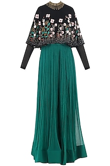 Black Embroidered Cape with Teal Green Palazzo Pants