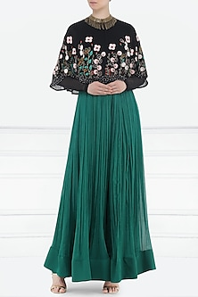 Black Embroidered Cape with Teal Green Palazzo Pants by Aisha Rao