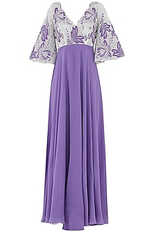 Lavender Embroidered Gown by Aisha Rao