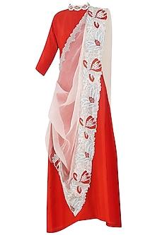 Burnt Orange Anarkali Gown with Embroidered Drape Dupatta by Aisha Rao