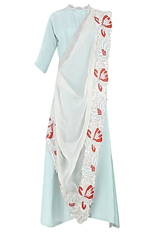 Powder Blue Anarkali Gown with Embroidered Drape Dupatta