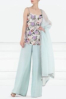 Powder Blue Embroidered Kurta with Ijar Pants Set by Aisha Rao
