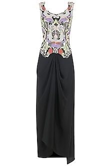 Ivory Embroidered Jacket with Charcoal Black Draped Skirt by Aisha Rao