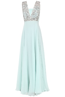 Powder Blue Embroidered Gown