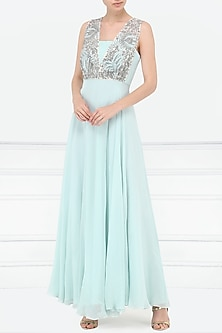 Powder Blue Embroidered Gown by Aisha Rao