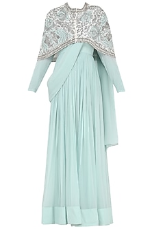 Powder Blue Anarkali Gown with Embroidered Cape