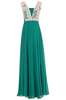 Teal Green Embroidered Gown