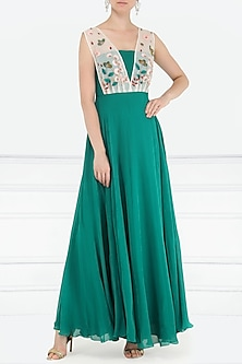 Teal Green Embroidered Gown by Aisha Rao
