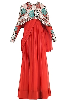Burnt Orange Anarkali Gown with Embroidered Cape