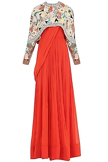 Burnt Orange Anarkali Gown with Ivory Embroidered Cape