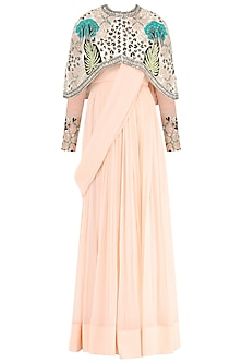 Dahlia Pink Anarkali Gown with Embroidered Cape