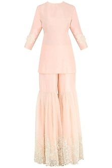 Dahlia Pink Embroidered Kurta with Gharara Pants<br />