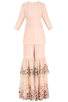 Dahlia Pink Sequins and Pearl Embroidered Kurta with Gharara Pants