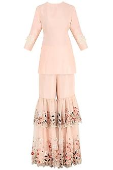 Dahlia Pink Sequins and Pearl Embroidered Kurta with Gharara Pants by Aisha Rao