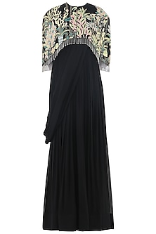 Charcoal Black Anarkali Gown with Embroidered Cape