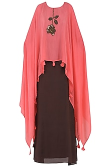 Pink Embroidered Kaftan Top with Brown Skirt