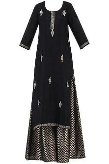 Black Embroidered Kurta with Lehenga Skirt Set