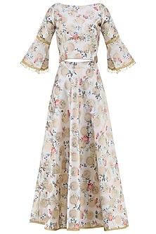 Ivory Digital Printed Blouse with Lehenga Skirt
