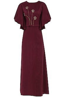 Maroon Embroidered Maxi Dress
