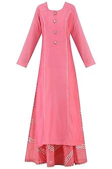 Pink Embroidered Kurta with Lehenga Skirt Set