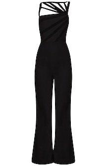 Black Multiple Goat Suede Striped Jumpsuit