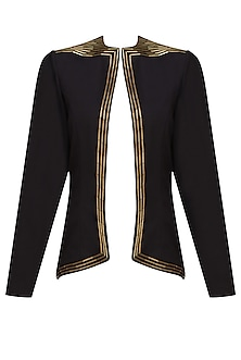 Black Golden Pipes Embellished Blazer