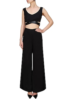 Black Sequinned Cut Out Crop Top by AAWA By Aastha Wadhwa
