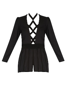 Black Criss Cross Goat Suede Peplum Top