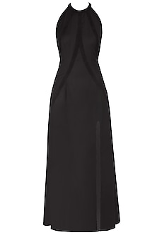 Black Halter Neck Goat Suede Gown
