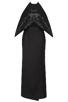 Black Halterneck Batwing Sleeves Evening Gown