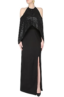 Black Halterneck Batwing Sleeves Evening Gown by AAWA By Aastha Wadhwa