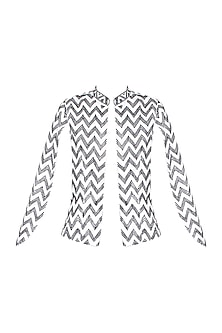 White Handcrafted Chevron Pattern Cape Jacket