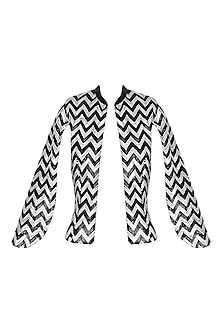 Black Handcrafted Chevron Pattern Cape Jacket
