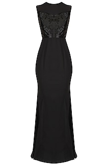 Black Sleeveless Evening Gown With Floor Sweeping Folds