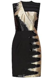Black and gold sequins evening dress